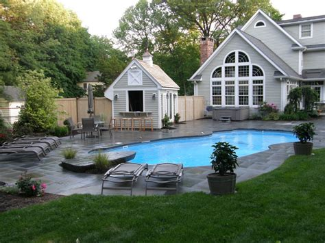 Awesome Exterior House With Beautiful Backyard Landscape Backyard Pool House