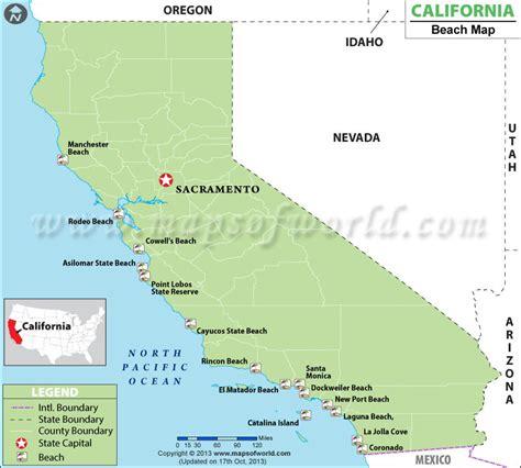 california map of beaches map of california beaches best beaches in california