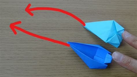origami motorboat 動く折り紙 モーターボート ロケット 作り方 moving origami quot motorboat quot and