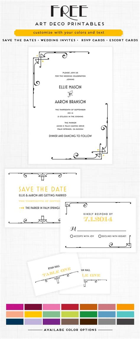 printable art deco wedding invitations art deco wedding art deco and deco on pinterest