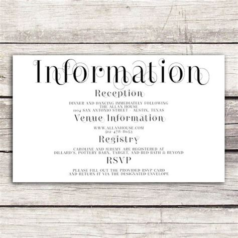 wedding information card template free frame collection wedding information card wedding