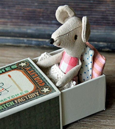 mouse in matchstick box bed mice