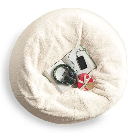 Faux Fur Home Decor ivory sherpa faux fur beanbag pbteen