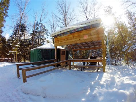 Double Deck Bed winter camping in a yurt at macgregor point provincial