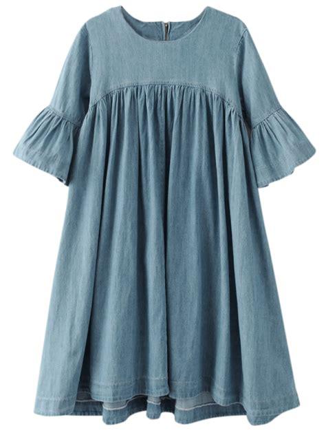 denim babydoll dress blue casual dresses s zaful