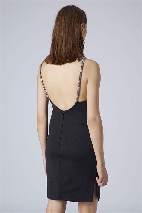 Emboss Dress Bodycon By Topshop lyst topshop womens diamante trim bodycon dress black in black