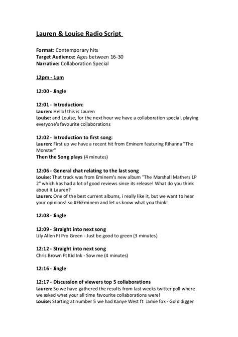 radio script template and louise radio script