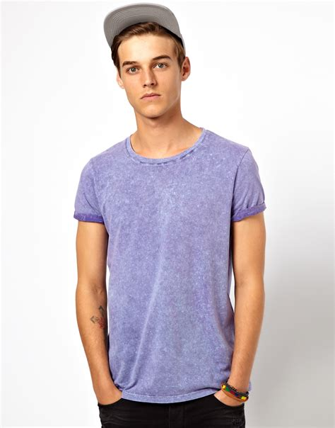design free asos t shirt asos tshirt with acid wash in blue for men lyst