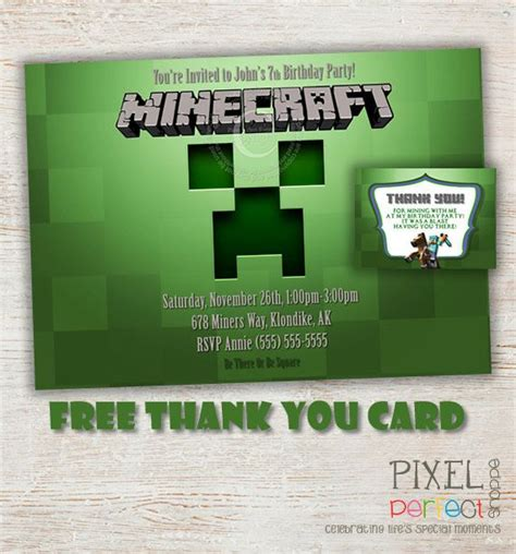 Minecraft Gift Card Free - free printable minecraft thank you cards free minecraft inspired birthday thank you