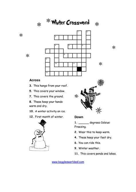 12 best winter puzzles images 12 best images of winter puzzle worksheets kid winter crossword puzzles printable winter