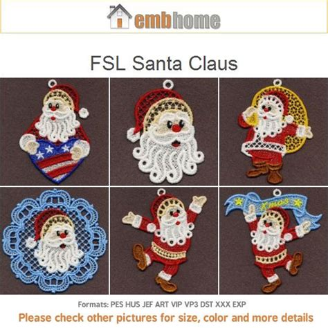 free standing santa claus fsl santa claus free standing lace machine embroidery