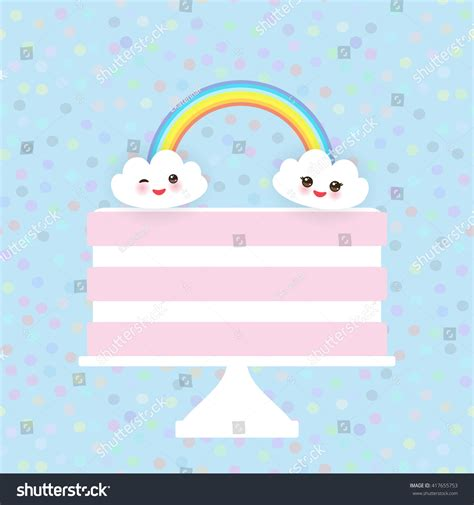kawaii birthday card template kawaii happy birthday sweet strawberry pink stock vector