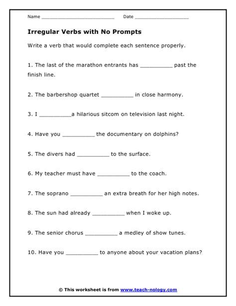 Irregular Verbs Worksheet by Irregular Verbs With No Prompts