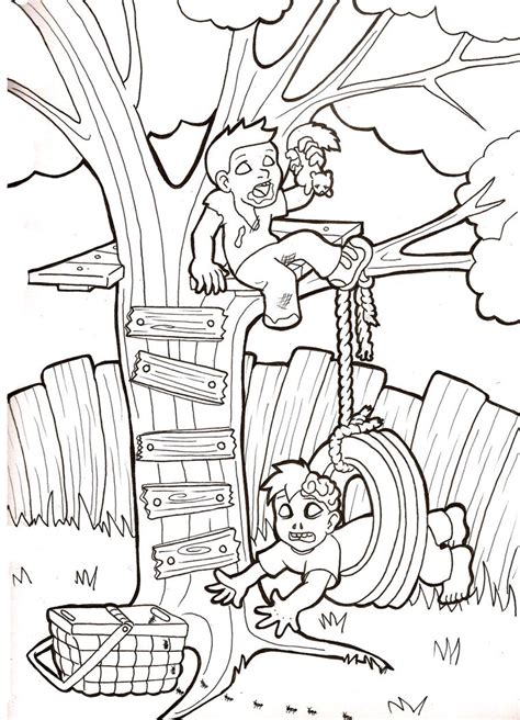 swing color tree swing coloring pages