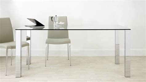 Large Glass Dining Tables Rectangular Clear Glass Dining Table Chrome Legs Uk