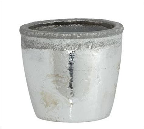Silver Planters Indoor by Whitley Stoneware Cachepot Metallic Silver Small