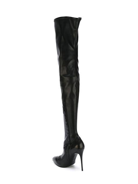 thigh high stiletto boots mcqueen thigh high stiletto boots in black lyst