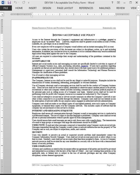 Employee Acceptable Use Policy Template Acceptable Use Policy Notice Template