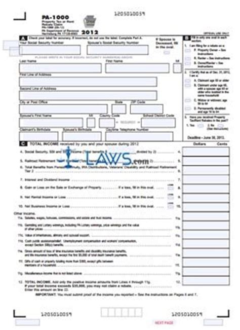 form pa 1000 property tax or rent rebate claim property