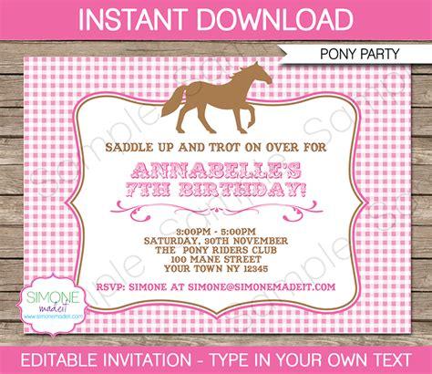 printable birthday invitations horse theme horse or pony party invitations template pony party