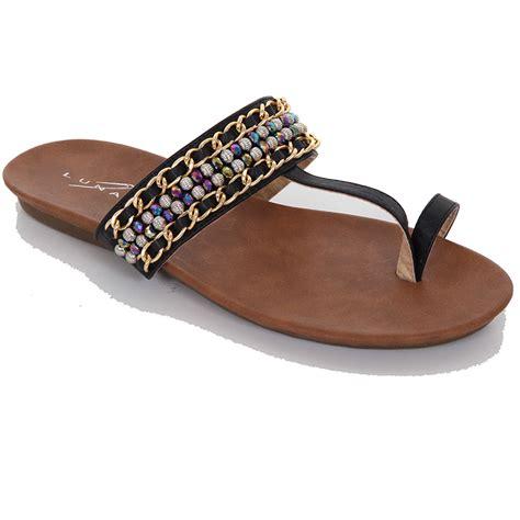 s black ivory beaded chain toe loop smart