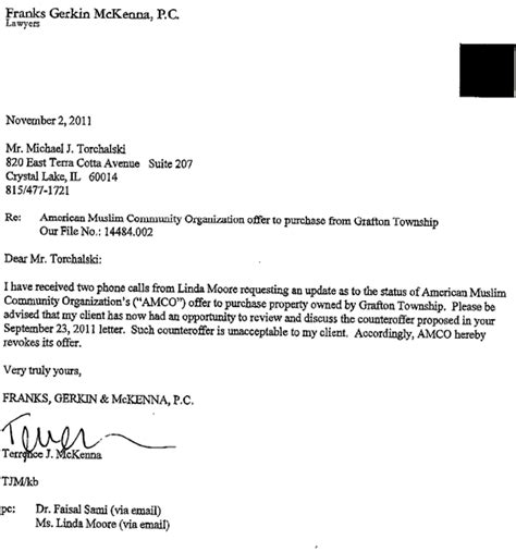Offer Letter To Purchase offer to buy grafton township lot withdrawn mchenry