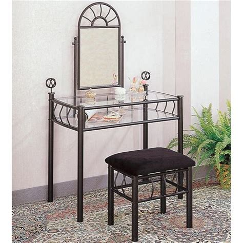 coaster furniture 2438 casual wrought iron vanity set two