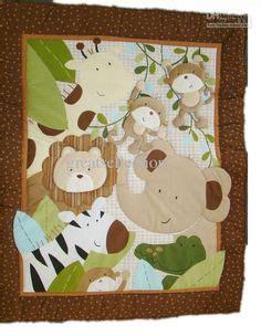 Free Patchwork Cot Quilt Patterns - jungle quilt panel patchwork bazooples jungle animal cot