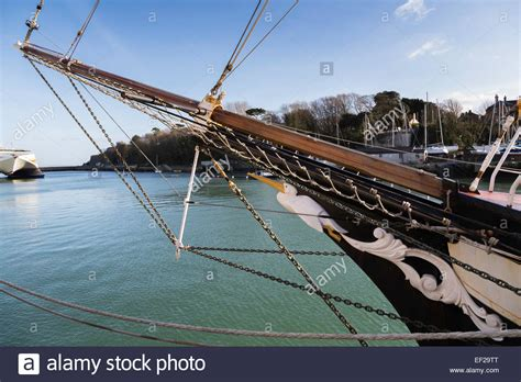 prow of a boat prow of a tall ship called pelican of london with a modern