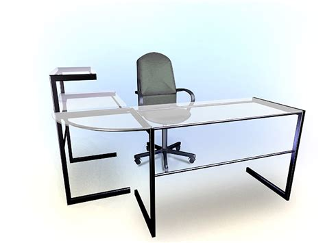 table l 3d model free modern glass office desk 3d model 3dsmax autocad files