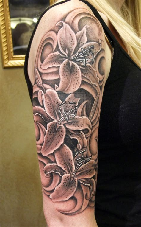 womens sleeve tattoos black and grey tattoo fantastic