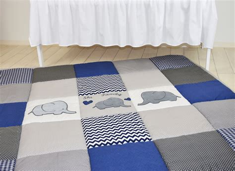 Navy Elephant Rug by Play Mat Large Elephant Baby Rug Padded Navy Gray Playmat