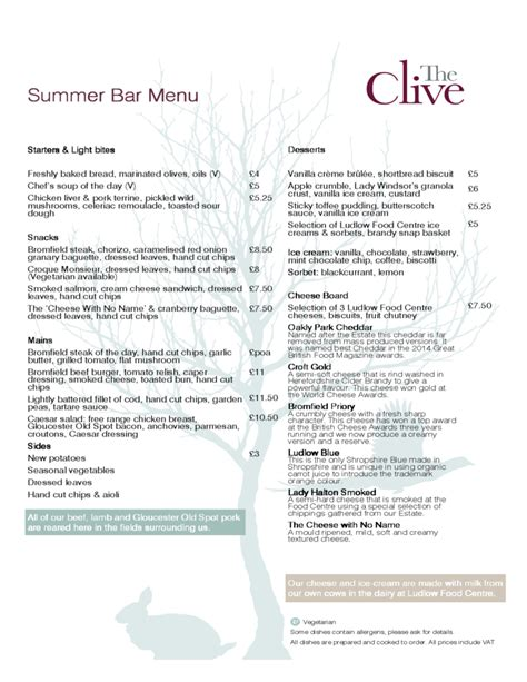 bar menu template free summer bar menu templates free