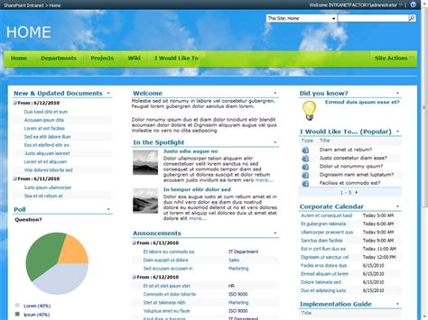 stron biz intranet templates free