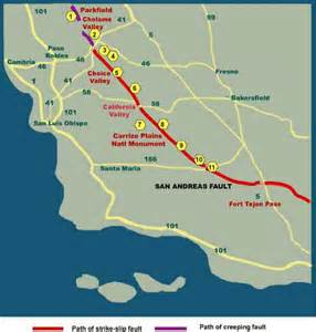 san andreas fault line map california san andreas fault in san luis obispo county