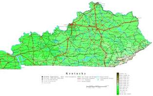 State Of Kentucky Map by Kentucky Contour Map