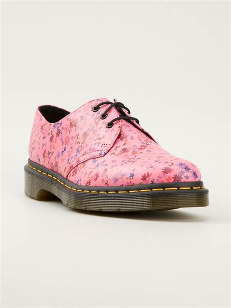 pink patterned shoes lyst dr martens floral print derby shoes in pink
