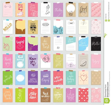 set of 48 creative journaling cards vector illustration