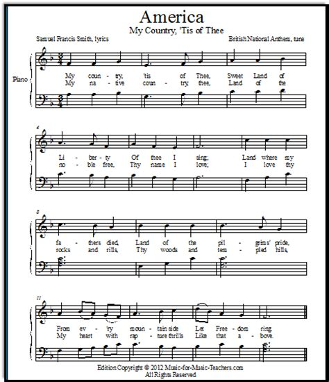 printable lyrics my country tis of thee my country tis of thee america free for early