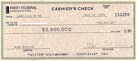 cashier s check exles exles of cashier s check
