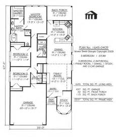 3 bedroom house plans one story 1645 0409 square feet narrow lot house plan