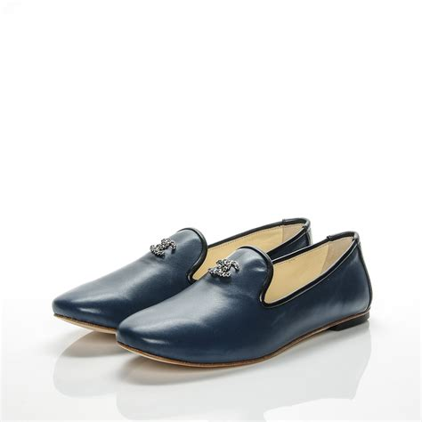 chanel moccasins loafers chanel lambskin cc loafers 36 5 navy 193309