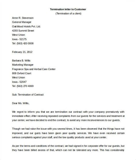 official letter terminate contract