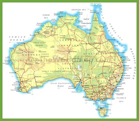 printable map hervey bay physical road map of australia