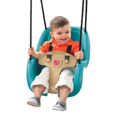 baby on a swing infant to toddler swing outdoor play by step2