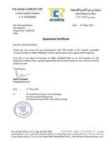 Certification Letter For Company mr ealumalai muthu date 31stmay 2015api inspector passport no z