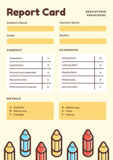 card template for kindergarten yellow with colorful pencils preschool report card
