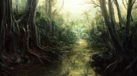 jungle painting speedpaint jungle river by inetgrafx on deviantart