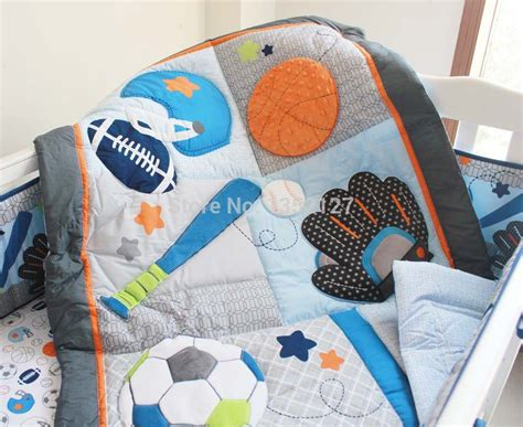 sports baby bedding applique embroidered sports blue crib quilt boy baby