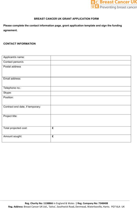 download grant application templates for free formtemplate